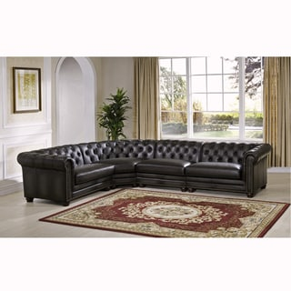 Superbe Bono Premium Top Grain Grey Tufted Leather Sectional Sofa