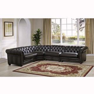 Wonderful Bono Premium Top Grain Grey Tufted Leather Sectional Sofa