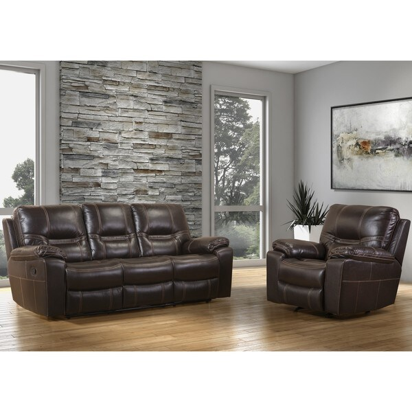 Eleuthra Brown Faux Leather Reclining Sofa And Rocker Recliner Chair Set