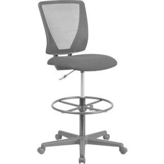 Offex Ergonomic Mid-back Grey Mesh Height-Adjustable Drafting Chair