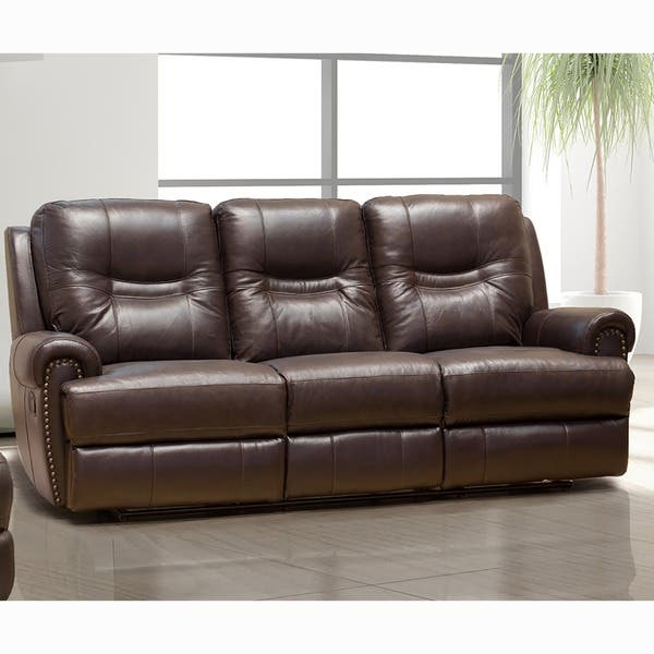 Sensational Windemere Brown Top Grain Leather Reclining Sofa Gmtry Best Dining Table And Chair Ideas Images Gmtryco