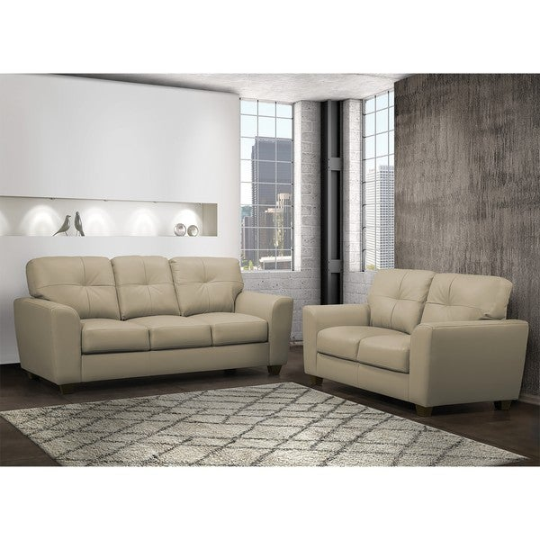 Shop Bahama Taupe Top Grain Leather Sofa And Loveseat Set Free
