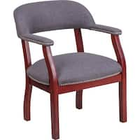 Offex Mahogany and Grey Fabric Luxurious Conference Chair