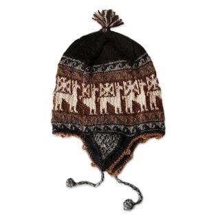 Handmade Alpaca Blend Chullo Hat, 'White Deer' (Peru)