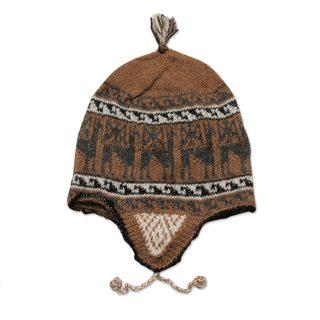 Handmade Alpaca Blend Chullo Hat, 'Llama Shadow' (Peru)