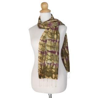 Handmade Silk Scarf, 'Purple Wilderness' (Thailand)