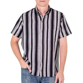 Men's Handmade Cotton 'City at Night' Short Sleeve Shirt (Guatemala)