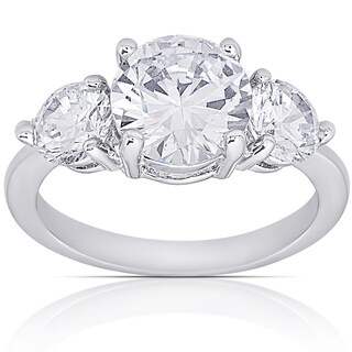 Dolce Giavonna Silver Overlay Cubic Zirconia Three-Stone Engagement Ring