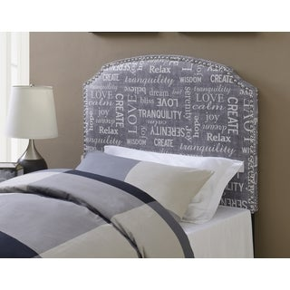 Shelby Phrase Twin-Size Grey Upholstered Headboard by Greyson Living
