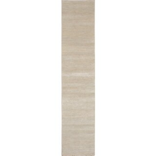 Ecarpet Gallery Hand-Knotted Silk Shadow Ivory Viscose from Bamboo Silk Rug (2'5 x 11'11)