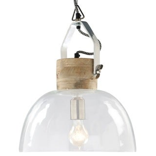 ILLUMINATI Large Clear Dome and Natural Wood Hanging Pendant Lamp