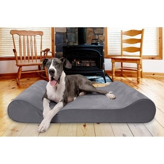 FurHaven Pet Bed | Orthopedic Microvelvet Luxe Lounger Contour Dog Bed