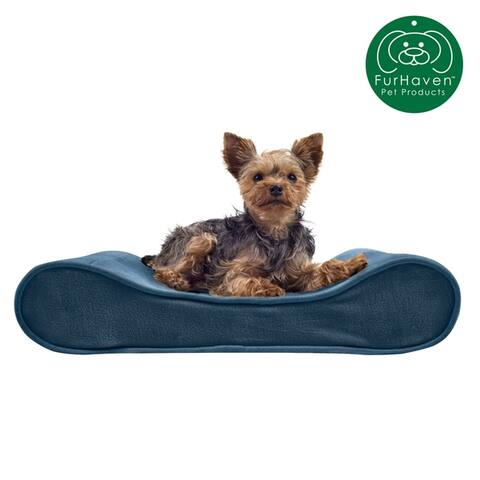 FurHaven Pet Bed Orthopedic Microvelvet Luxe Lounger Contour Dog Bed