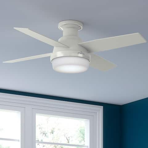 Hunter Dempsey 44-in. Low-profile Ceiling Fan w/ LED Light Kit and Remote - Fresh White