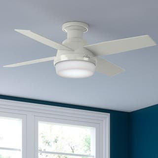 Flush mount ceiling fans for less overstock hunter fan dempsey collection white 44 inch low profile reversible blade ceiling fan aloadofball