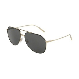 Dolce & Gabbana Men's DG2166 130587 61 Aviator Metal Plastic Gold Grey Sunglasses