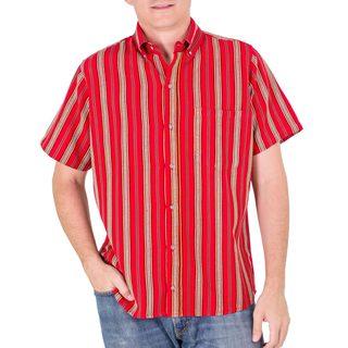 Men's Handmade Cotton 'Volcano of Fire' Short Sleeve Shirt (Guatemala)
