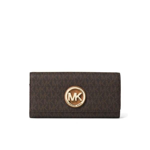 eec7c3492b36 Shop Michael Kors Signature Fulton Brown Carryall Wallet - Free ...