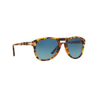 Persol Men's PO0714 1052S3 54 Aviator Plastic Havana Blue Sunglasses