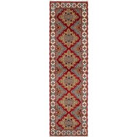 eCarpetGallery Hand-knotted Royal Kazak Ivory/Red Wool Rug (2'8 x 9'10)