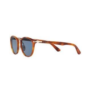 Persol Men's PO3108S 96/56 49 Round Plastic Havana Blue Sunglasses