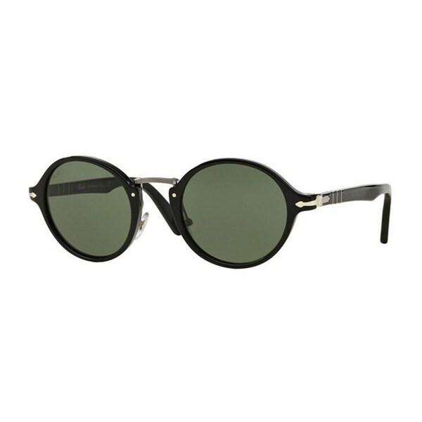 f8262c1c35 Persol Unisex PO3129S 95 31 48 Round Plastic Black Green Sunglasses