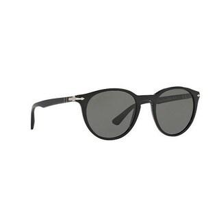 Persol Men's PO3152S 901458 52 Round Plastic Black Green Sunglasses