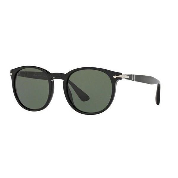 220be7a61d Persol Men  x27 s PO3157S 95 31 52 Round Plastic Black Green Sunglasses