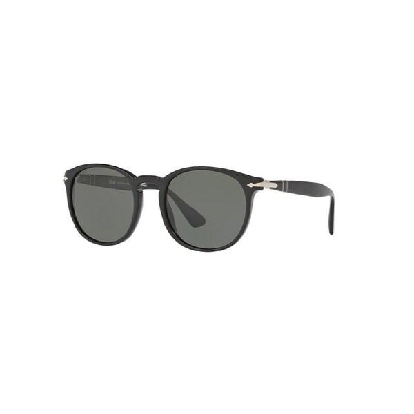 8977830e09 Persol Men  x27 s PO3157S 95 58 54 Round Plastic Black Green Sunglasses