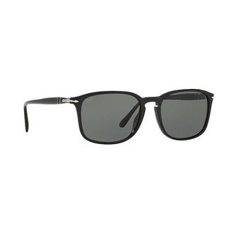 Persol Men's PO3158S 95/58 56 Rectangle Plastic Black Green Sunglasses