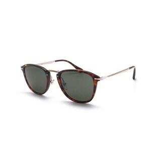 Persol Men's PO3165S 24/31 50 Square Metal Plastic Havana Green Sunglasses