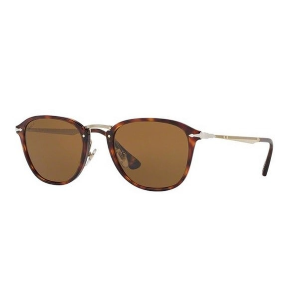 1296244e275fd Shop Persol Men s PO3165S 24 57 50 Square Metal Plastic Havana Brown ...