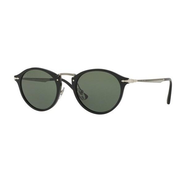 372465b4ff Shop Persol Men s PO3166S 95 31 49 Round Metal Plastic Black Green ...