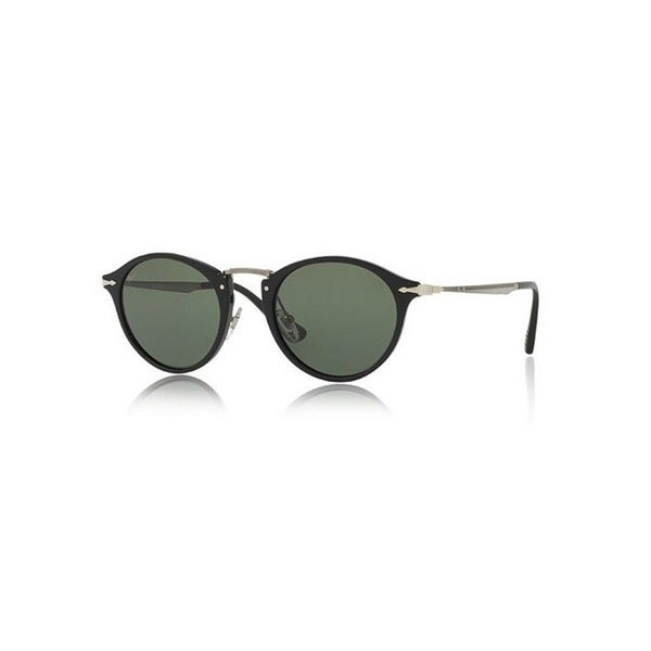 3ea41d7cc Shop Persol Men's PO3166S 95/31 51 Round Metal Plastic Black Green ...