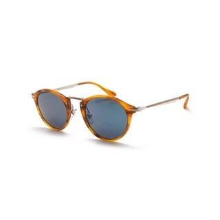 Persol Men's PO3166S 960/56 49 Round Metal Plastic Havana Blue Sunglasses