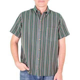 Men's Handmade Cotton 'Grove of Coban' Short Sleeve Shirt (Guatemala)