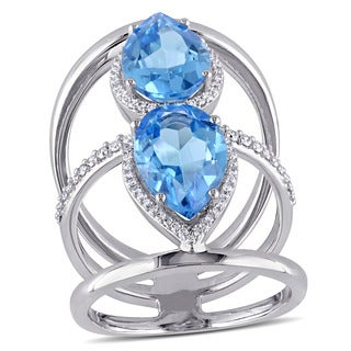 Miadora Signature Collection 14k White Gold Pear-Cut Swiss-Blue Topaz 3/8ct TDW Diamond Halo Triple Row Ring (G-H, SI1-SI2)