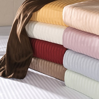 Superior 100-percent Premium Long-staple Combed Cotton 650 Thread Count Deep Pocket Striped Sheet Set (As Is Item)