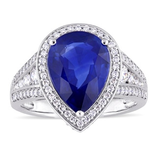 Miadora Signature Collection 14k White Gold Pear-Cut Sapphire and 4/5ct TDW Diamond Halo Vintage Filigree Ring (G-H, SI1-SI2)