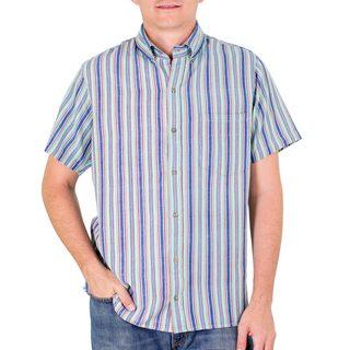 Men's Handmade Cotton 'Tikal Sky' Short Sleeve Shirt (Guatemala)