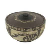 Decorative Wood Bowl, 'Giraffe' (Ghana)