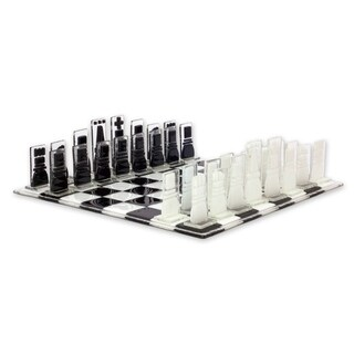 Handmade Art Glass Chess Set, 'Crystalline Challenge' (Mexico)
