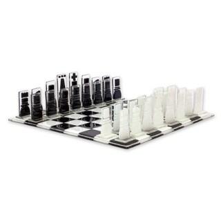 Handmade Art Glass Chess Set, 'Crystalline Challenge' (Mexico)
