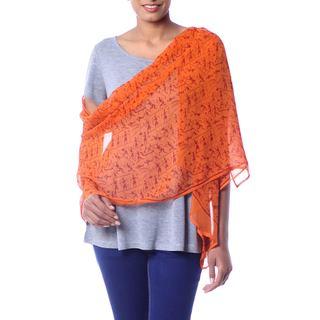 Handmade Silk Shawl, 'Tribal Scenes' (India)