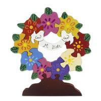 Handmade Wood Display Jigsaw Puzzle, 'My Life' (Mexico)