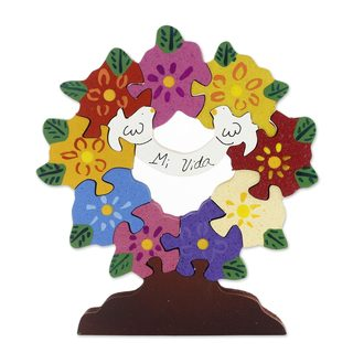 Handmade Wood Display Jigsaw Puzzle, 'My Life' (Mexico)