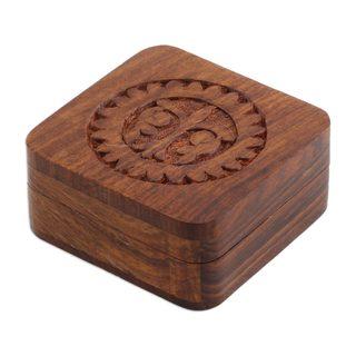 Mango Wood Decorative Box, 'Magnificent Sun' (India)