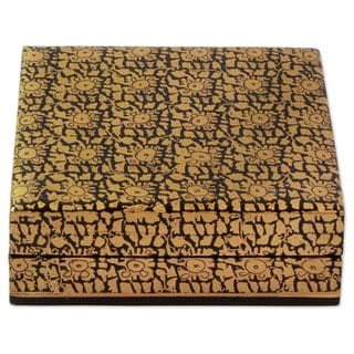 Handmade Wood Decorative Box, 'Leafy Gold' (India)