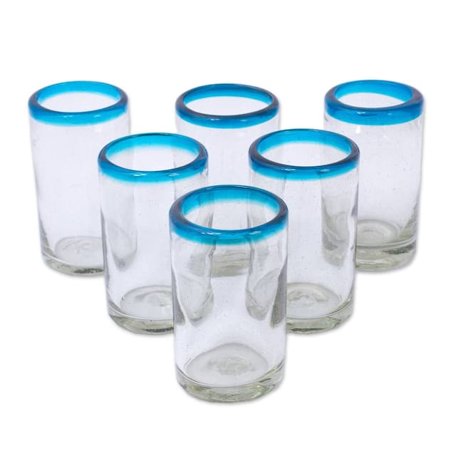 Set of 6 Recycled Glass Tumblers, 'Sky Blue Halos'