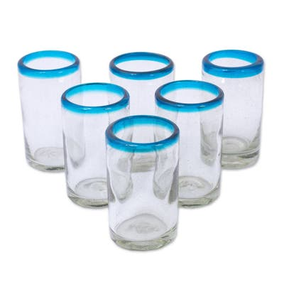 "NOVICA Handmade Recycled Glass Tumblers Sky Blue Halos Set of 6 (Mexico) - 4.3"" H x 2.6"" Diam."